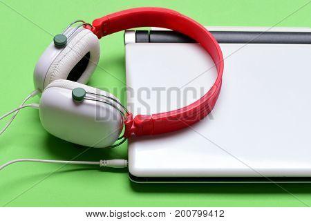 Electronics Isolated On Light Green Background. Sound Recording Idea