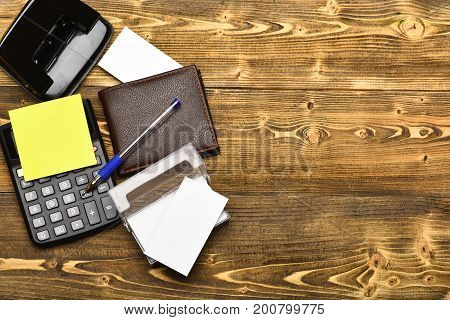 Office Tools Isolated On Vintage Background, Top View