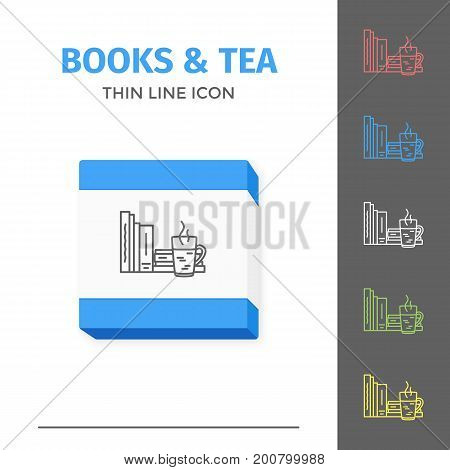 Thin lined book icon. Vector isolated on white outlined sign of different closed books in front view. Concept of self education or distance learning