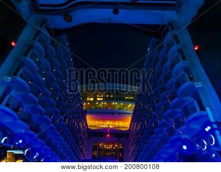 Barcelona, Spain - September 06, 2015: The cruise ship Allure of the Seas, The Royal Caribbean International. The exterior view of the ship at evening