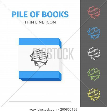 Thin lined learning book icon. Vector isolated on white outlined sign of pile of different opened books in top view.