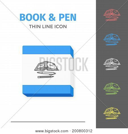 Thin lined book icon. Vector isolated on white outlined sign of opened book in front view. Concept of self education or distance learning