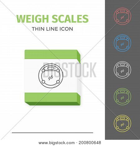 Simple thin line stroked bathroom weigt scales vector isolated sport icon. Weight measurement instrument.