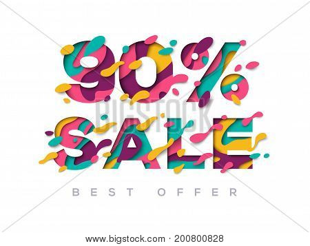 Paper cut sale 90 percent off. 90 discount 3d sign isolated on white background. Vector illustration. Sale symbol concept, special offer label, sticker tag, banner, advertising badge