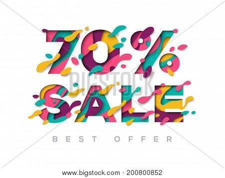 Paper cut sale 70 percent off. 70 discount 3d sign isolated on white background. Vector illustration. Sale symbol concept, special offer label, sticker tag, banner, advertising badge