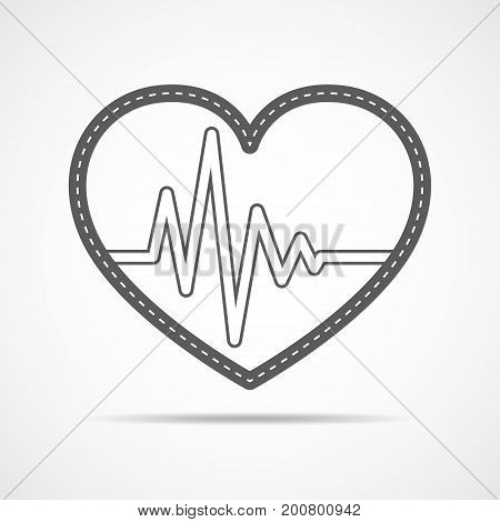 Gray heart icon with sign heartbeat. Vector illustration. Heart in flat outline style.