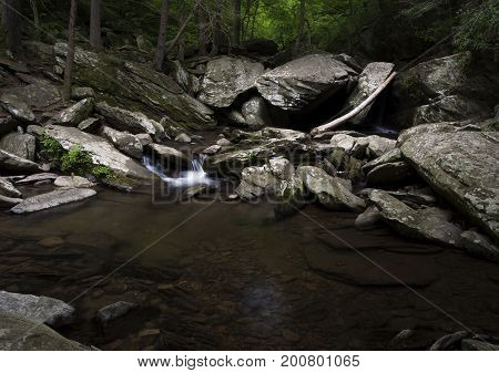 Beautiful pool of water along the Go Forth Creek in the Ocoee River gorge area of eastern Tennessee