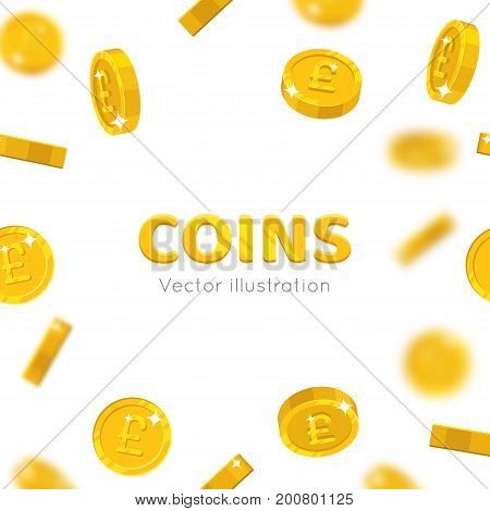 Flying gold pounds cartoon frame. Background of the flying gold of pounds in the form of a frame in a cartoon style. Cover gold pieces in the form of vector illustrations