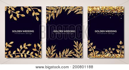 Banners set with gold floral patterns. Vector illustration. Flyer design layout templates for holiday cards, wedding cards, save the date. Glittering premium vip design. Golden Olive branches decor
