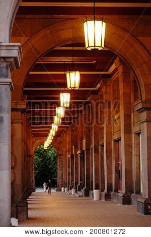 SOFIA, BULGARIA - AUGUST 01, 2017: portico of Tzum department store. The Tzum after the democratic changes was transformed in a place for expensive boutiques rather than a store for the people