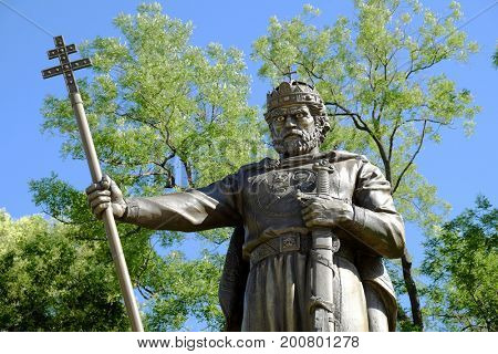SOFIA, BULGARIA - JULY 31, 2017: statue of Samuil Tsar, emperor of the First Bulgarian Empire from 997 to 6 October 1014, in Sofia, Bulgaria