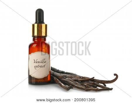Small bottle with aromatic extract and dry vanilla beans on white background