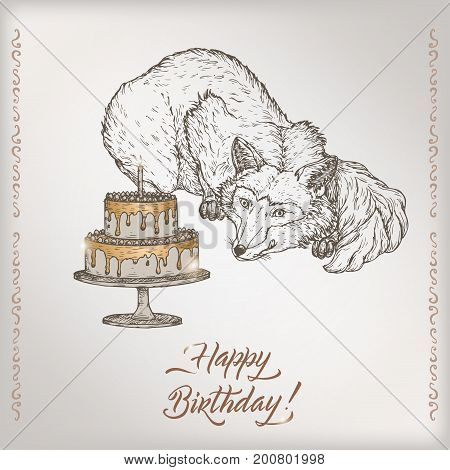 Romantic vintage birthday card template with calligraphy, fox and cake sketch. Great for holiday design.