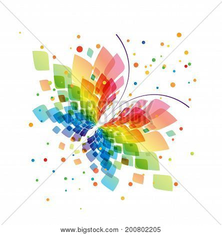 Abstract splash butterfly on white background, vector illustration