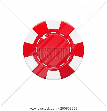 Red casino chip cartoon style isolated. The original casino chip for designers and illustrators. Casino bet in the form of a vector illustration