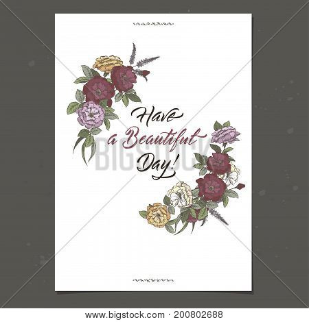 Romantic A4 birthday greeting card template with brush lettering calligraphy and roses sketch. Great for holiday design.