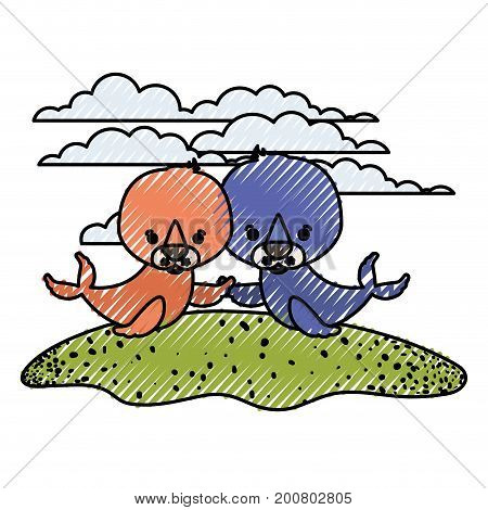 color crayon silhouette scene couple caricature seals aquatic animals in grass vector illustration
