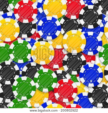 Collection casino chips style seamless pattern. Background of casino chips as a pattern for designers and illustrators. Cover of multi-colored stakes in the form of vector illustration