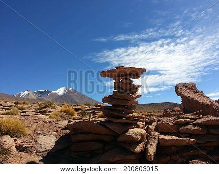 Stones In Altiplano Desert, Bolivia, South America.