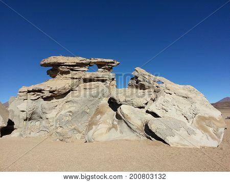Stones in Altiplano desert, Bolivia in South America.