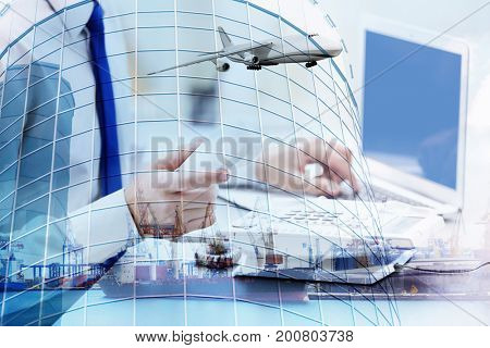Multi exposure of seaport and businessman with telephone receiver. Wholesale and logistic concept