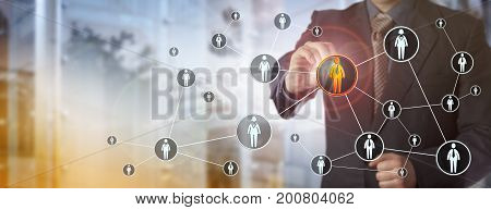 Blue chip recruitment agent highlighting a male white collar worker in a virtual network. HR concept for search for talented employees qualified staff marketing and peer to peer networking.