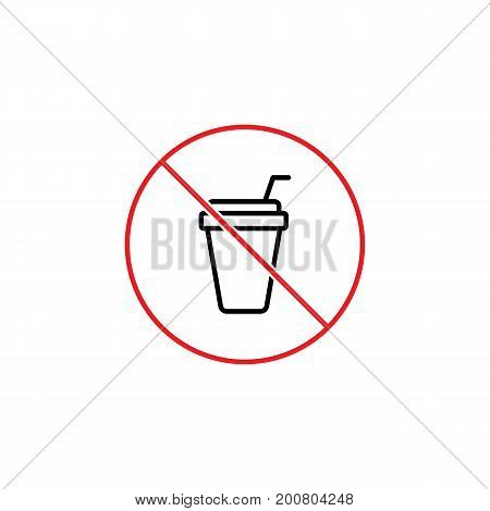 No Drinks, Prohibition Sign On White Background