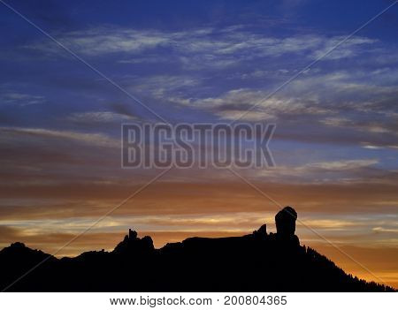 Beautiful sunset, natural park of Roque Nublo, Gran canaria, Canary islands