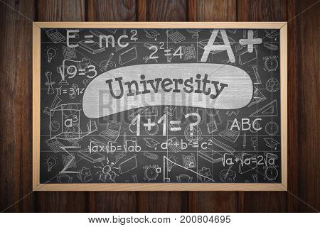 Image of ac chalkboard against university against black background