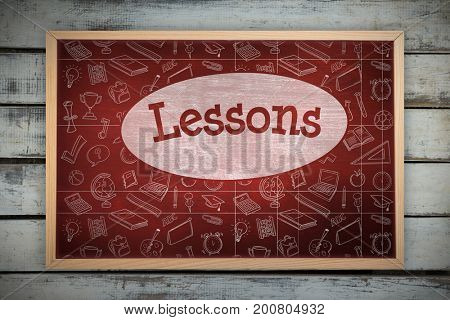 Chalkboard    against lessons against desk