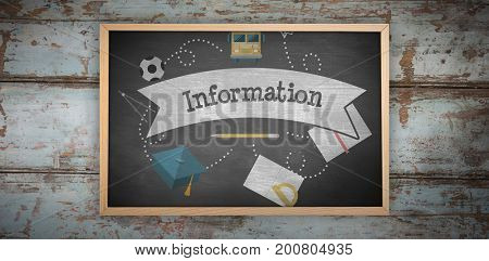 Chalkboard    against information against black background
