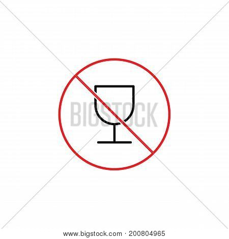 Glass Of Wine Prohibition Sign On White Background