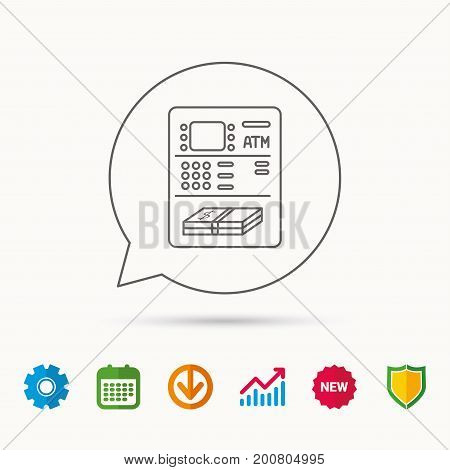 ATM icon. Automatic cash withdrawal sign. Calendar, Graph chart and Cogwheel signs. Download and Shield web icons. Vector