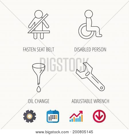 Seat belt, oil change and wrench tool icons. Disabled person linear sign. Calendar, Graph chart and Cogwheel signs. Download colored web icon. Vector