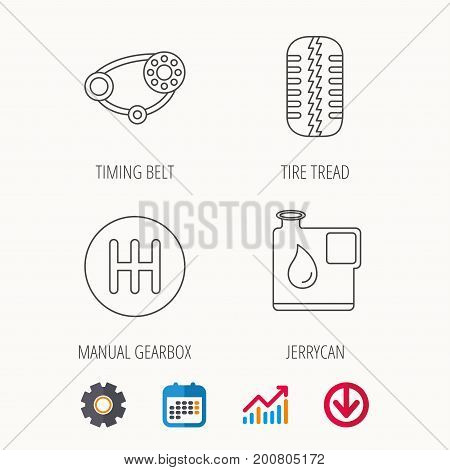 Wheel, manual gearbox and timing belt icons. Fuel jerrycan, manual transmission linear signs. Calendar, Graph chart and Cogwheel signs. Download colored web icon. Vector