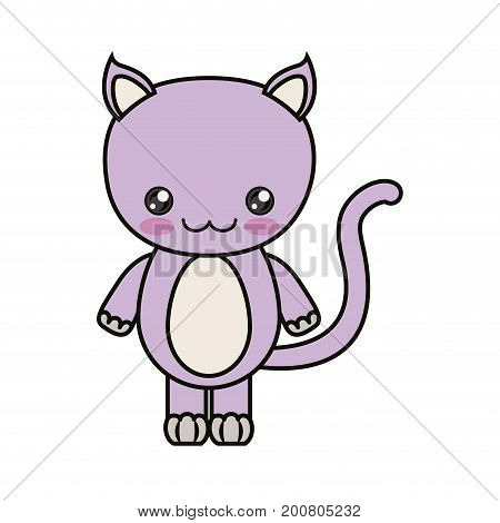 colorful kawaii caricature cute happiness expression of lilac cat animal vector illustration