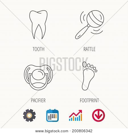 Pacifier, footprint and dental tooth icons. Rattle toy linear sign. Calendar, Graph chart and Cogwheel signs. Download colored web icon. Vector