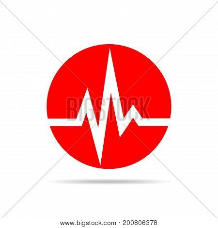 Red heartbeat sign in the circle. Vector illustration. Medical concept.