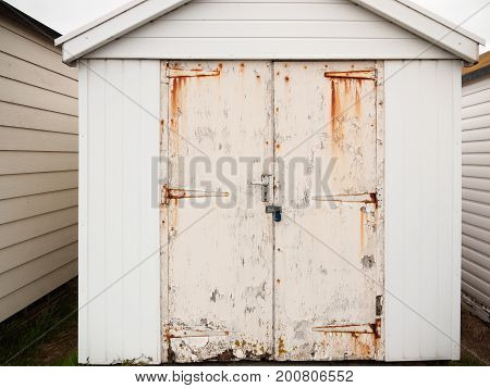Close Up Of Shed Door White Rusted Grunge Dirty