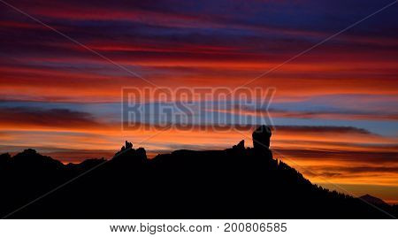 Awesome sunset with the multicolored sky, Roque Nublo, Gran canaria, Canary islands