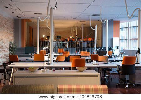 Big bright empty modern office after work