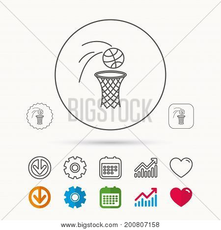 Basketball icon. Basket with ball sign. Professional sport equipment symbol. Calendar, Graph chart and Cogwheel signs. Download and Heart love linear web icons. Vector