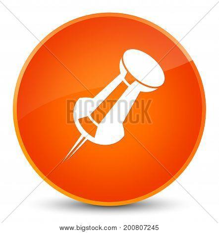 Push Pin Icon Elegant Orange Round Button