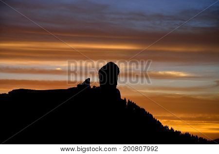 Beautiful sunset, Roque Nublo, Gran canaria island