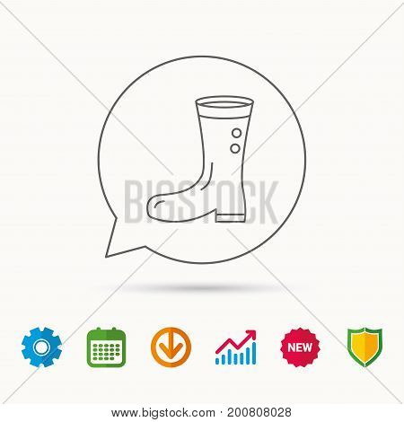 Boots icon. Garden rubber shoes sign. Waterproof wear symbol. Calendar, Graph chart and Cogwheel signs. Download and Shield web icons. Vector