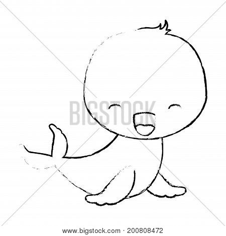 blurred silhouette of kawaii caricature cute seal aquatic animal vector illustration