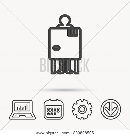 Beach changing cabin icon. Human symbol. Notebook, Calendar and Cogwheel signs. Download arrow web icon. Vector