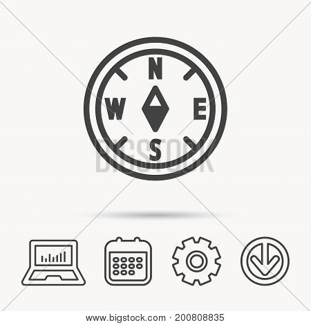 Compass navigation icon. Geographical orientation sign Notebook, Calendar and Cogwheel signs. Download arrow web icon. Vector