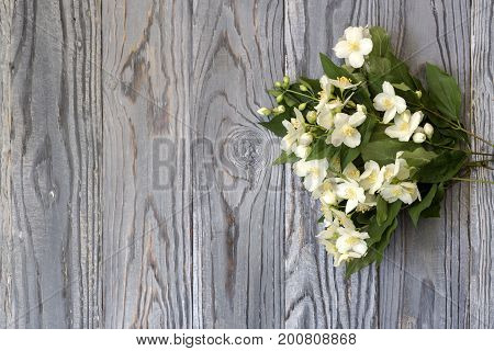 A bouquet of white jasmine on a wooden background