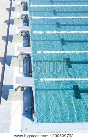 Part of Public Sports pool with starter blocks and swimming corridors